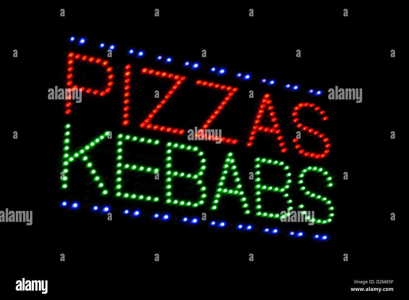 illuminated led sign advertising pizza and kebabs at take away or carry out - Stock Image