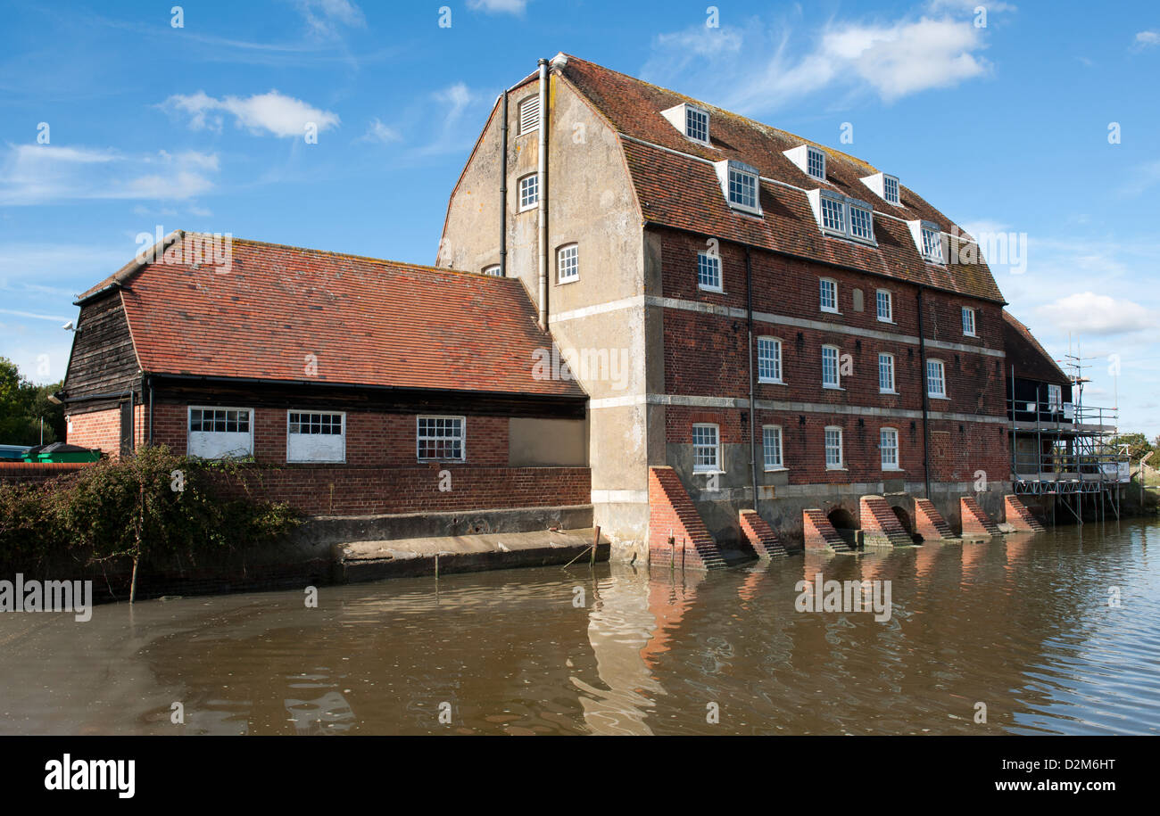 19th century tide mill and quay at Ashlett Creek, Fawley, New Forest, Hamsphire, England, UK. - Stock Image