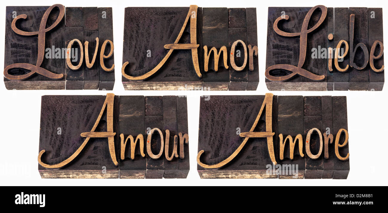Love Word In  Languages English Spanish German French And Italian A Collage Of Isolated Text In Vintage Wood Type