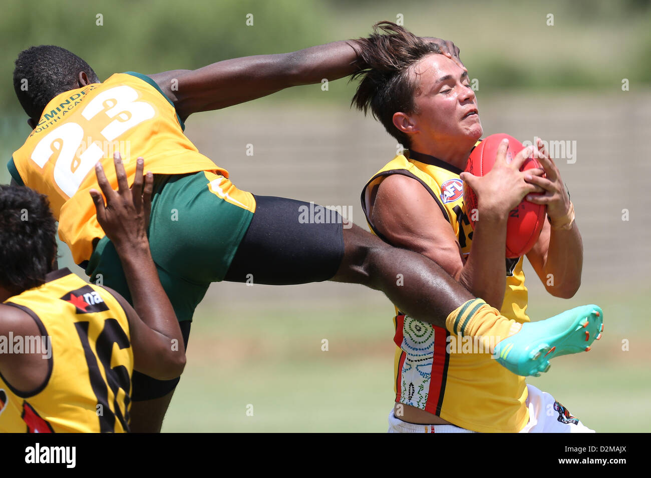 POTCHEFSTROOM, SOUTH AFRICA - JANUARY 28, Jayden Gerrand (Sinagra, WA) of the Australian Boomerangs gets his face - Stock Image