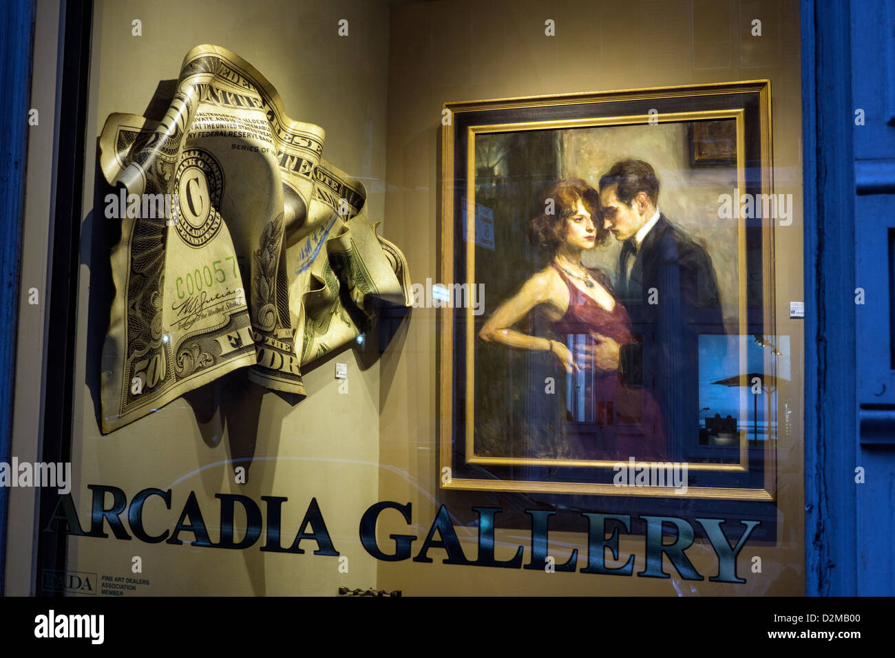 Art works in the window of the Arcadia Gallery in SoHo in New York City - Stock Image