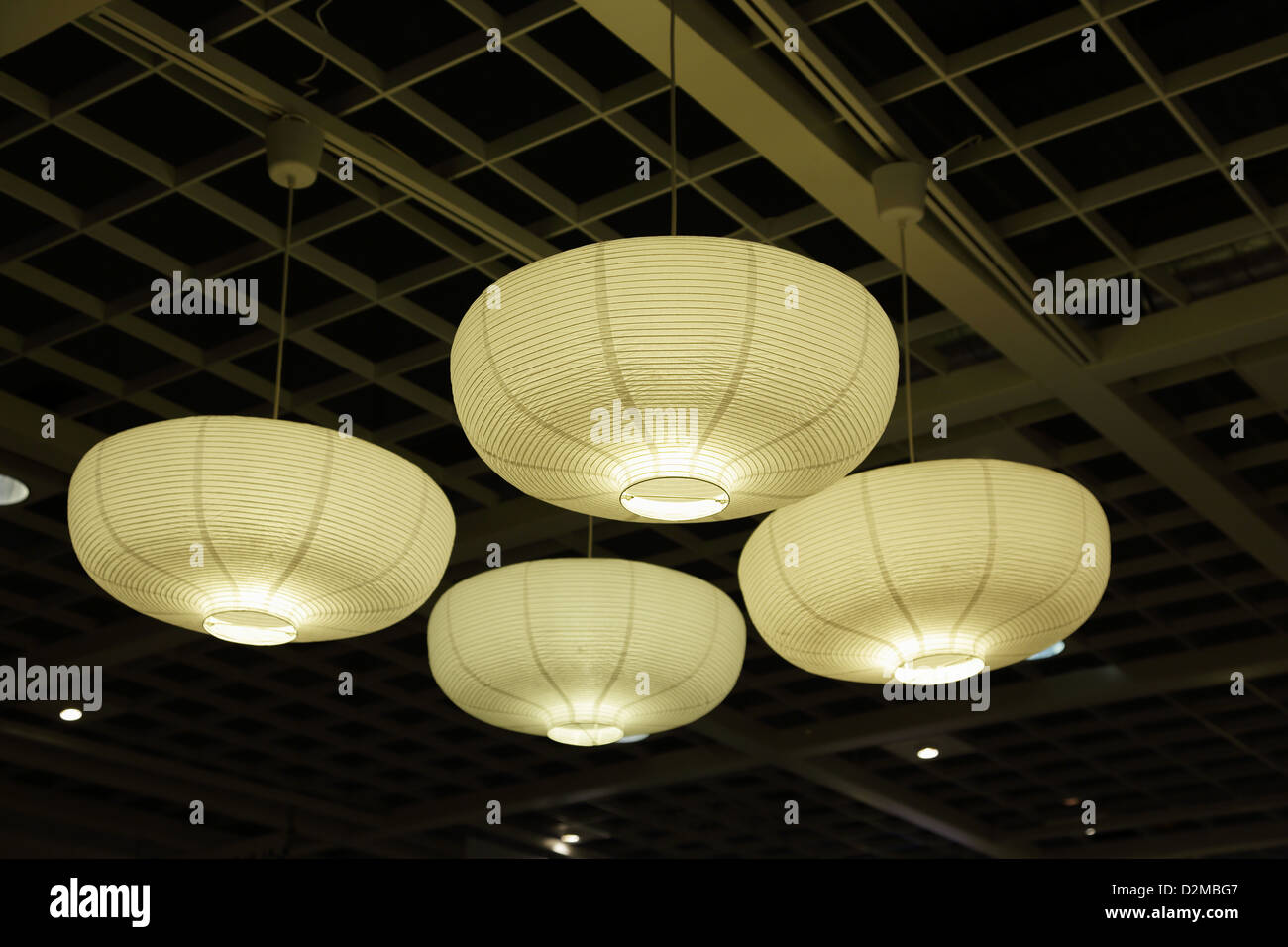 Paper lamp shades stock photos paper lamp shades stock images alamy ceiling lights with paper lamp shades stock image mozeypictures Gallery