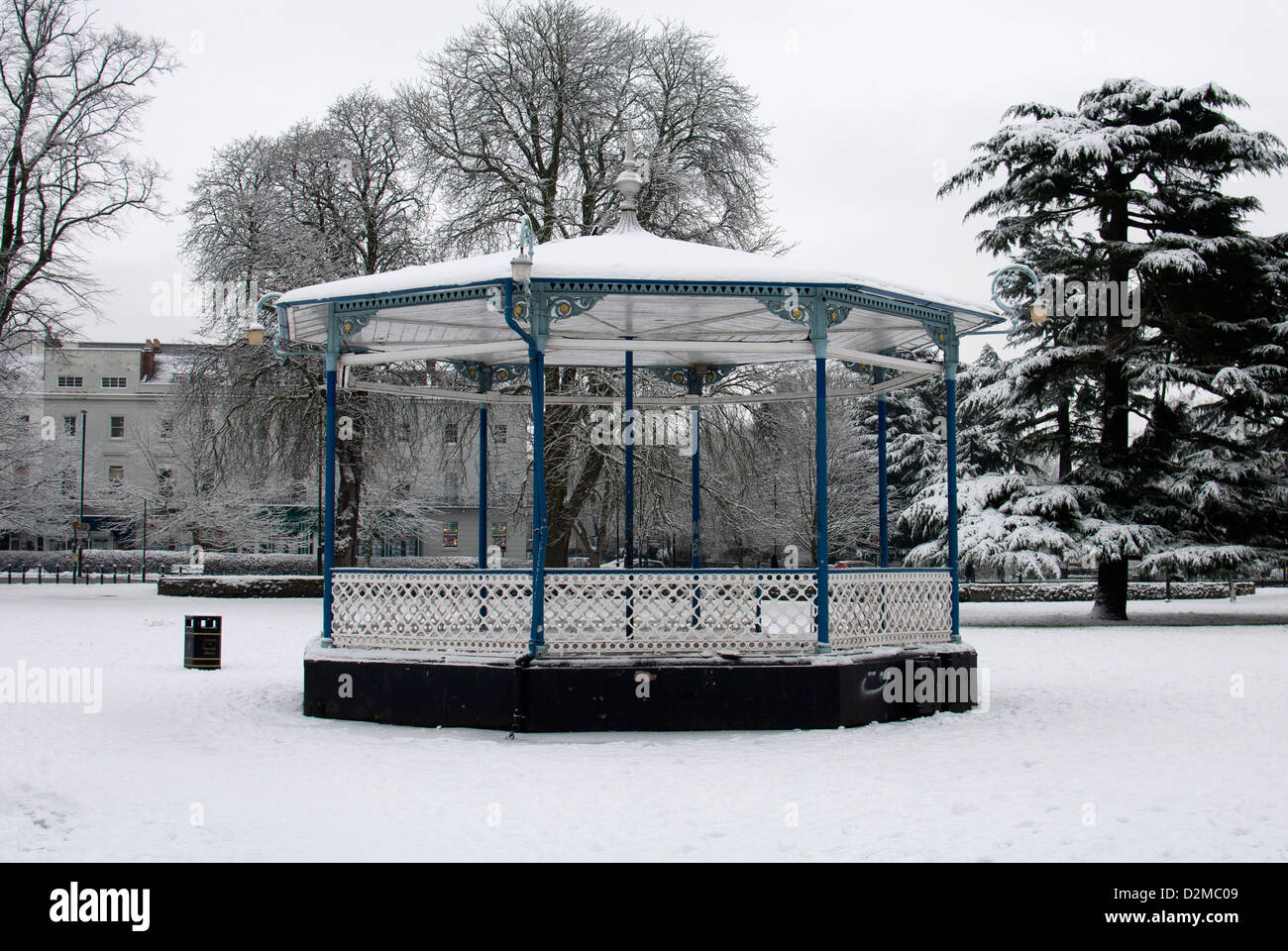 Bandstand in Pump Room Gardens in winter, Leamington Spa, Warwickshire, UK Stock Photo