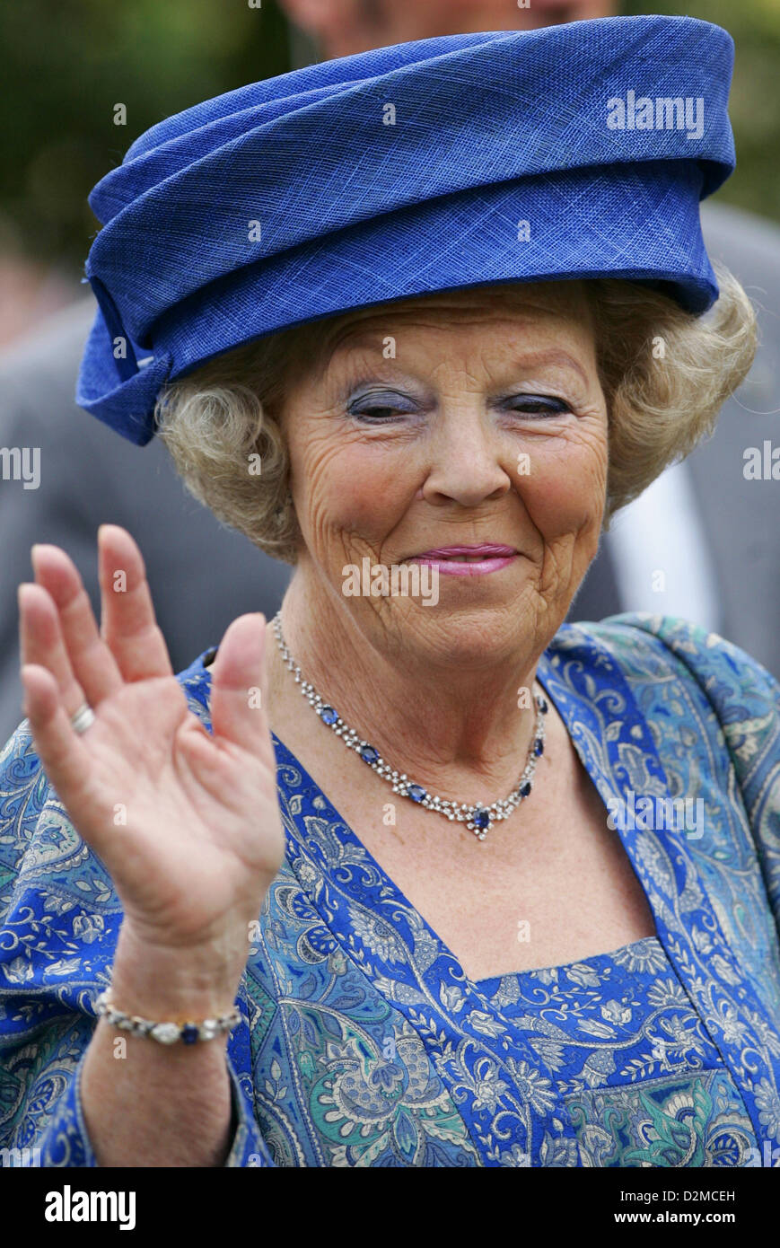 QUEEN BEATRIX OF THE NETHERLANDS ABDICATION FILE PIX: Queen BEATRIX OF THE NETHERLANDS of The  on 3 July 2008 visting Stock Photo