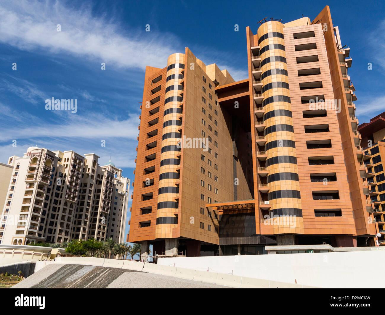 Modern architecture of tall residential buildings - Shoreline Apartments, Dubai, UAE - Stock Image