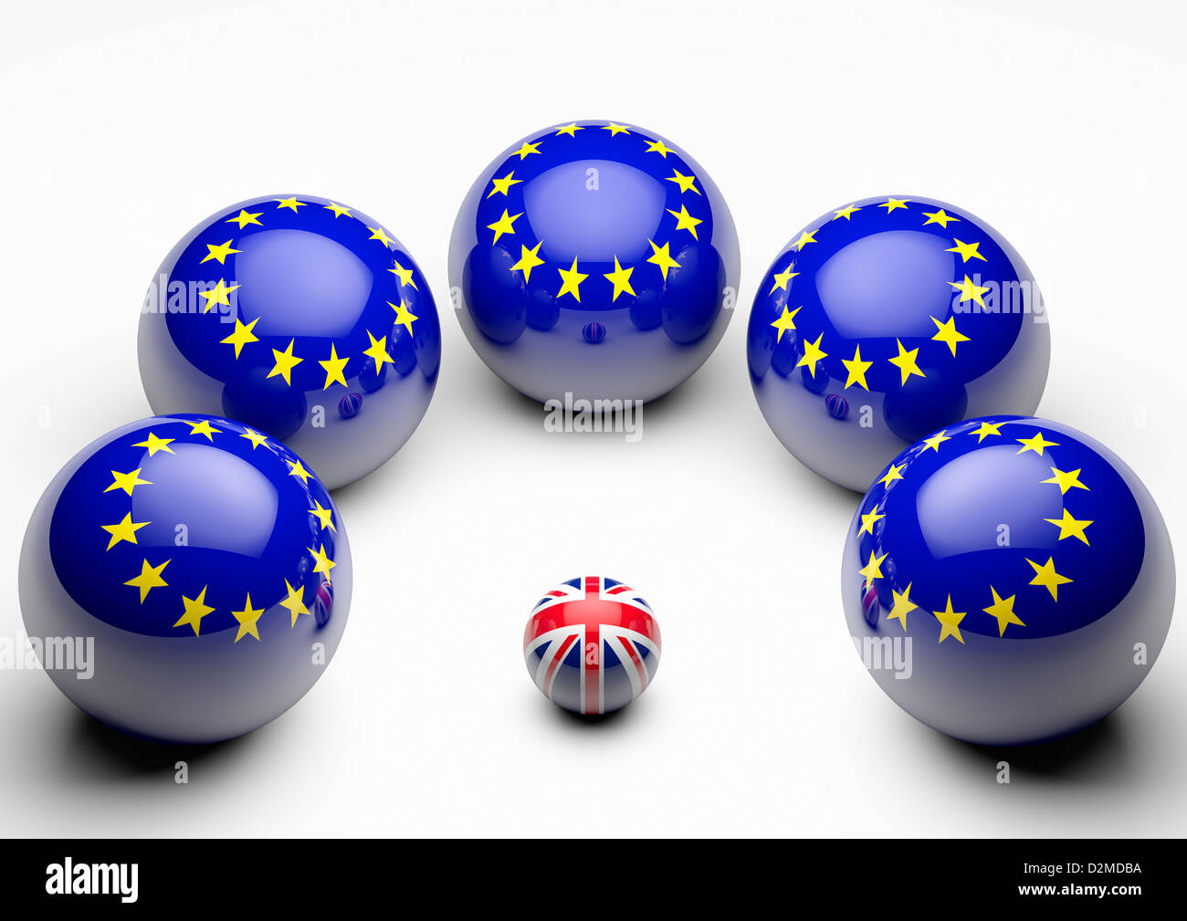 Large European Union flag spheres crowding round tiny British Union flag - European Union relationship relations - Stock Image