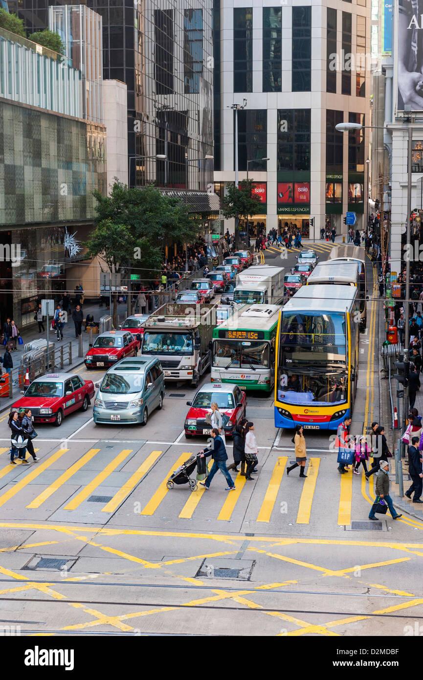 Traffic, Hong Kong street - Stock Image