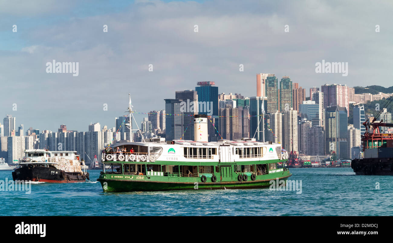 Star Ferry in Hong Kong Victoria harbour - Stock Image