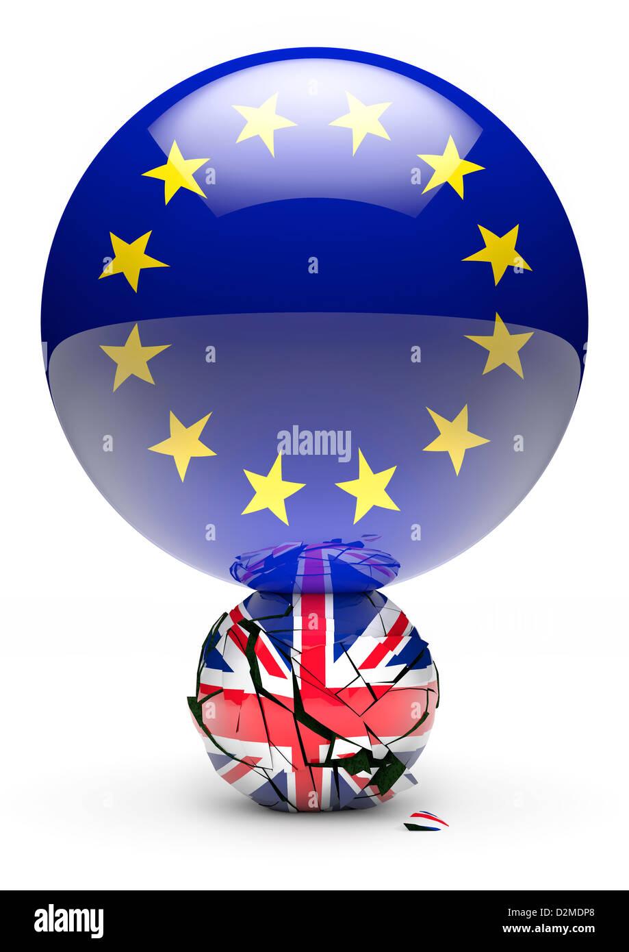 Large European Flag sphere crushing smaller British Union Flag sphere - EU break up / power / debt crisis concept - Stock Image