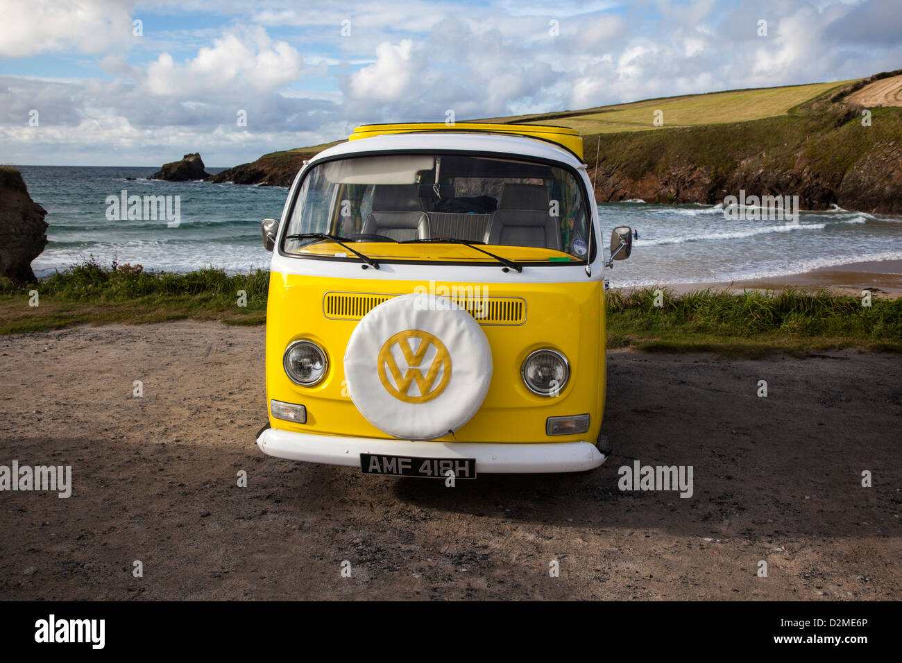 VW Campavan, Trevone Bay near Padstow, North Cornwall - Stock Image