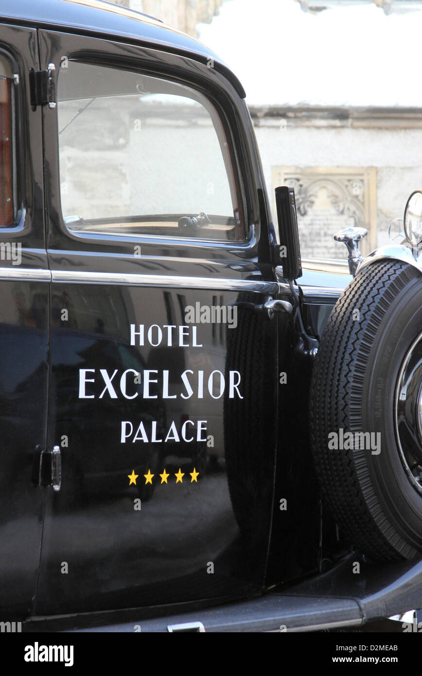 A vintage car, with the writing \'Hotel Excelsior Palace\' labeled on ...