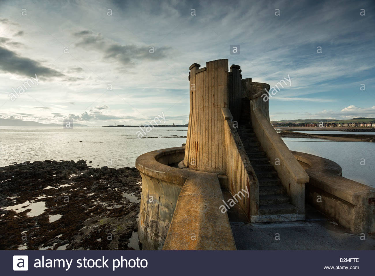 The Watch Tower, Saltcoats - and South Beach, Ardrossan, Ayrshire - Stock Image