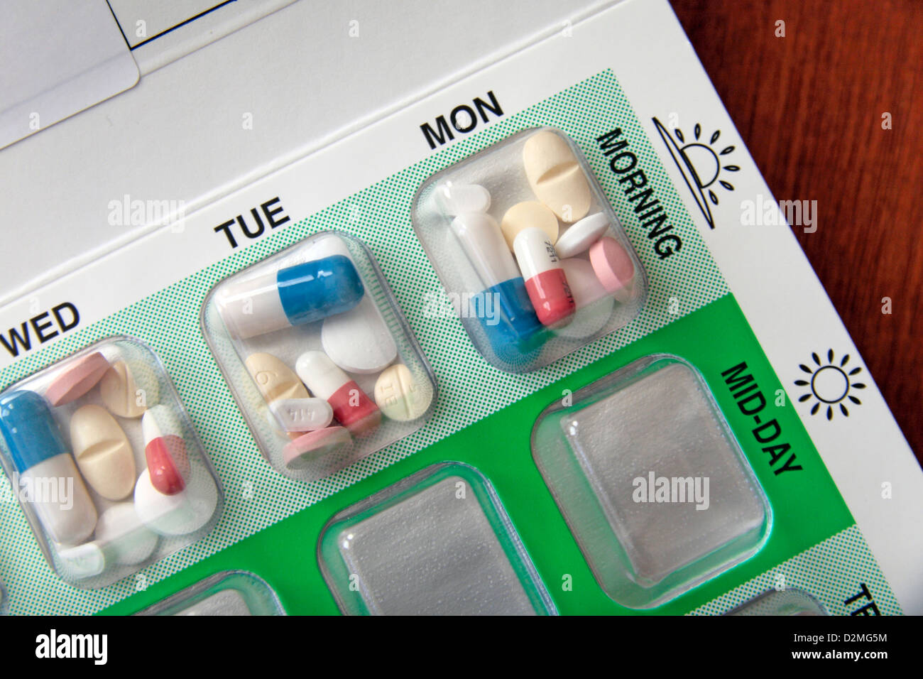 A National Health Service (NHS) medicine blister pack used by those who need to take several pills at different - Stock Image