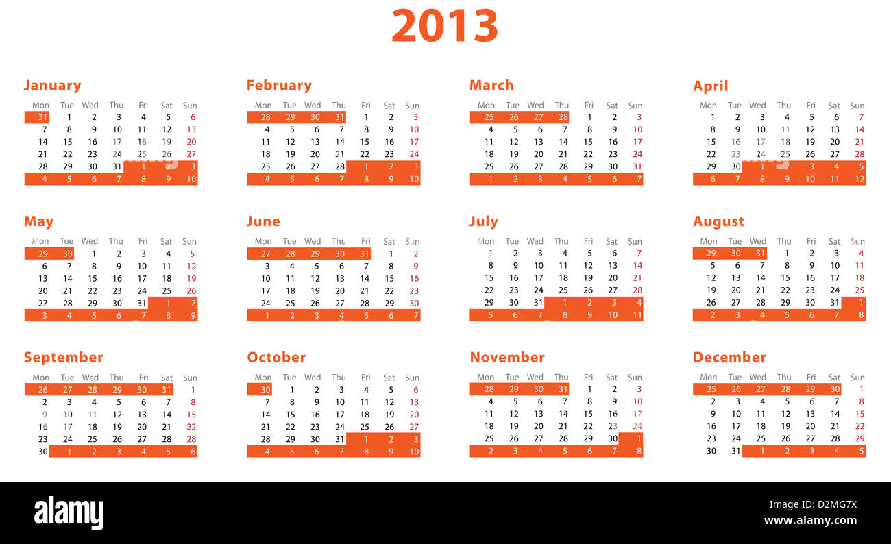 there is full european 2013 year calendar stock photo 53312222 alamy