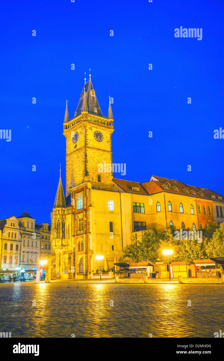 Old market square in Prague at night time - Stock Image