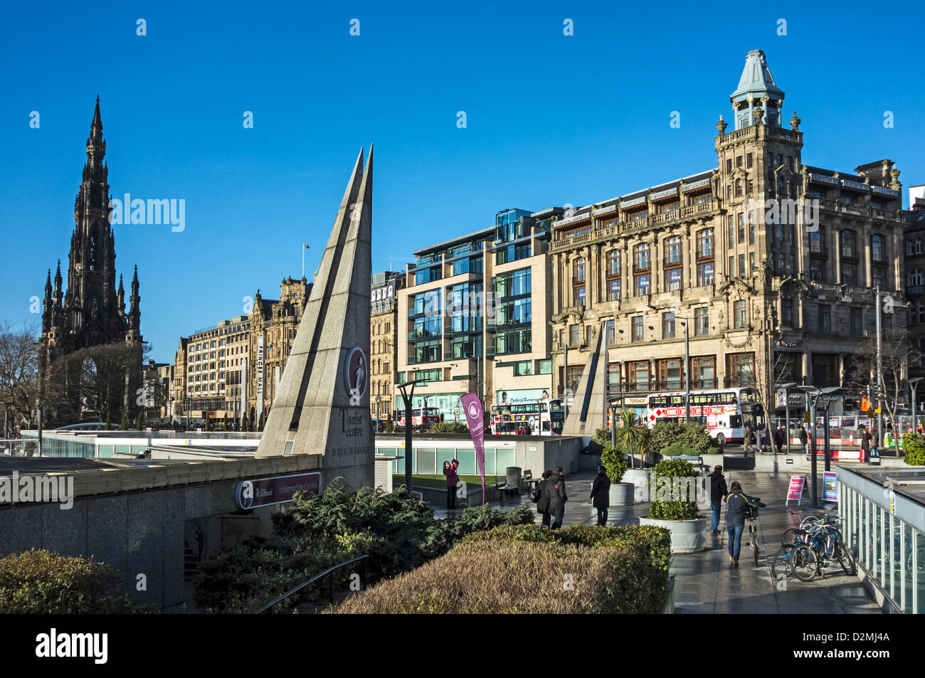 Roof of Princes Mall in Edinburgh Scotland with Sir Walter Scott monument Tourist Information Centre and Pinces - Stock Image
