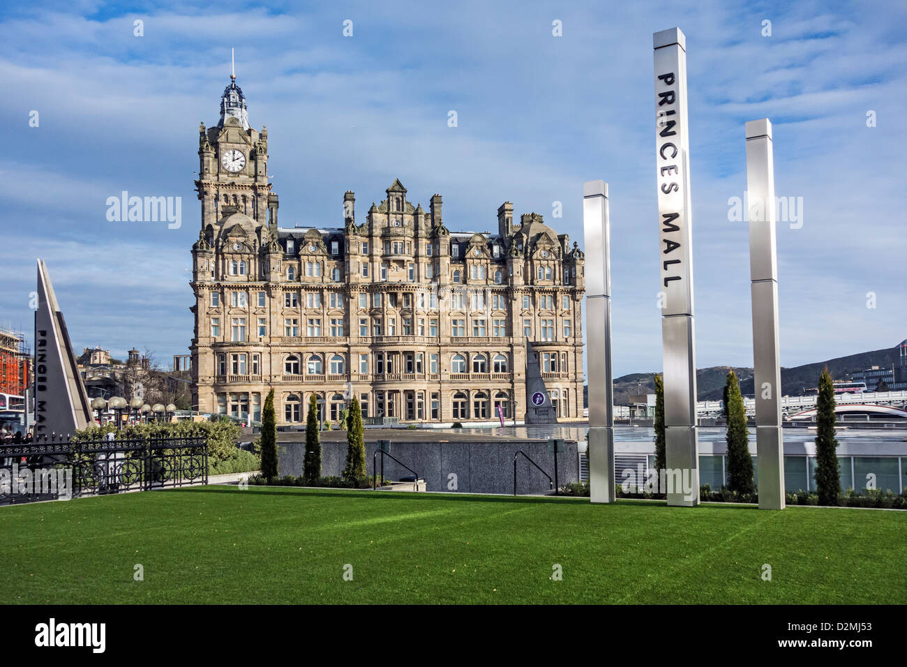 The Balmoral hotel and Princes Mall sign in central Edinburgh Scotland - Stock Image