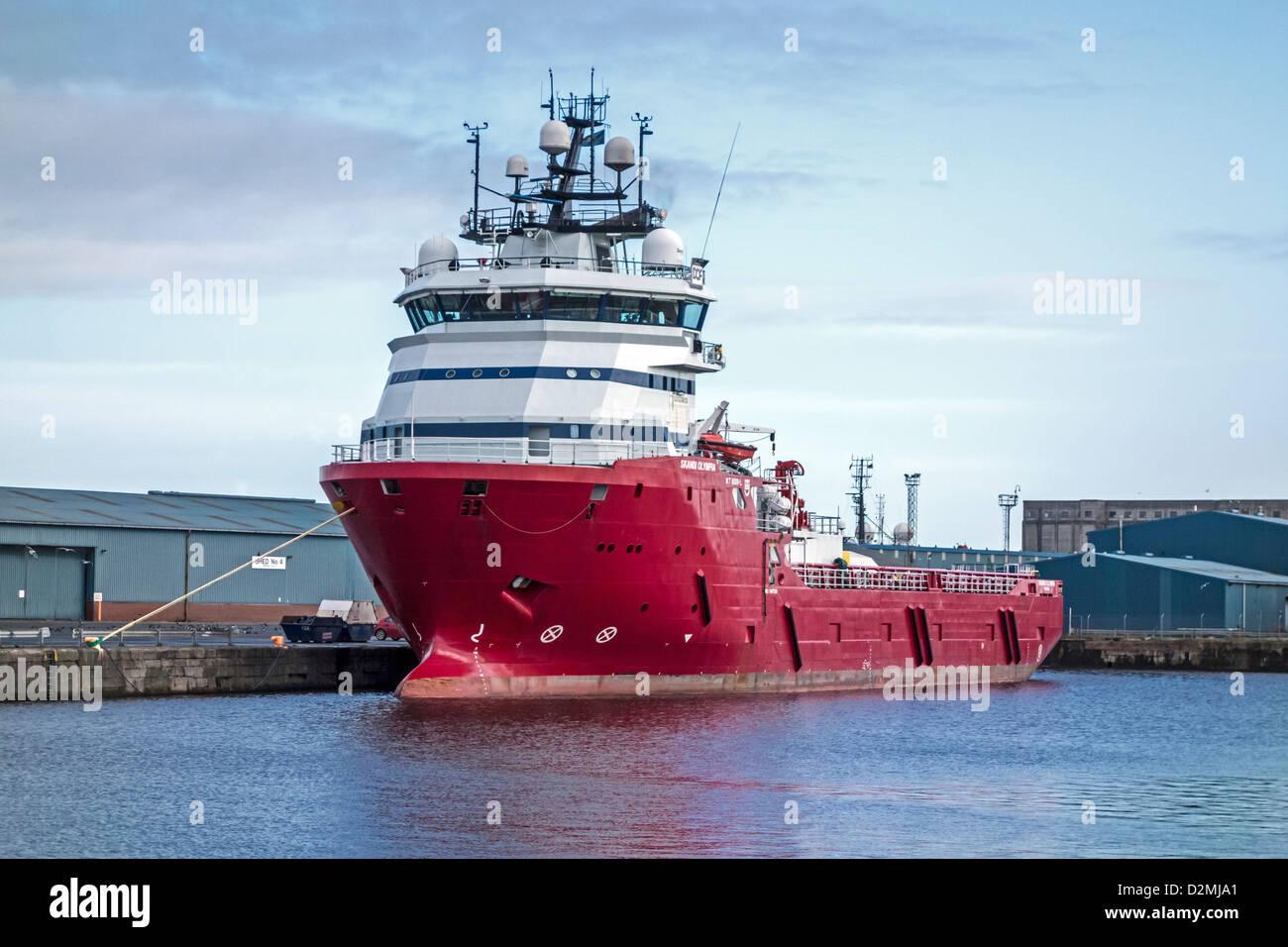Multipurpose Field Support Vessel Skandi Olympia moored in Leith Docks Edinburgh Scotland - Stock Image