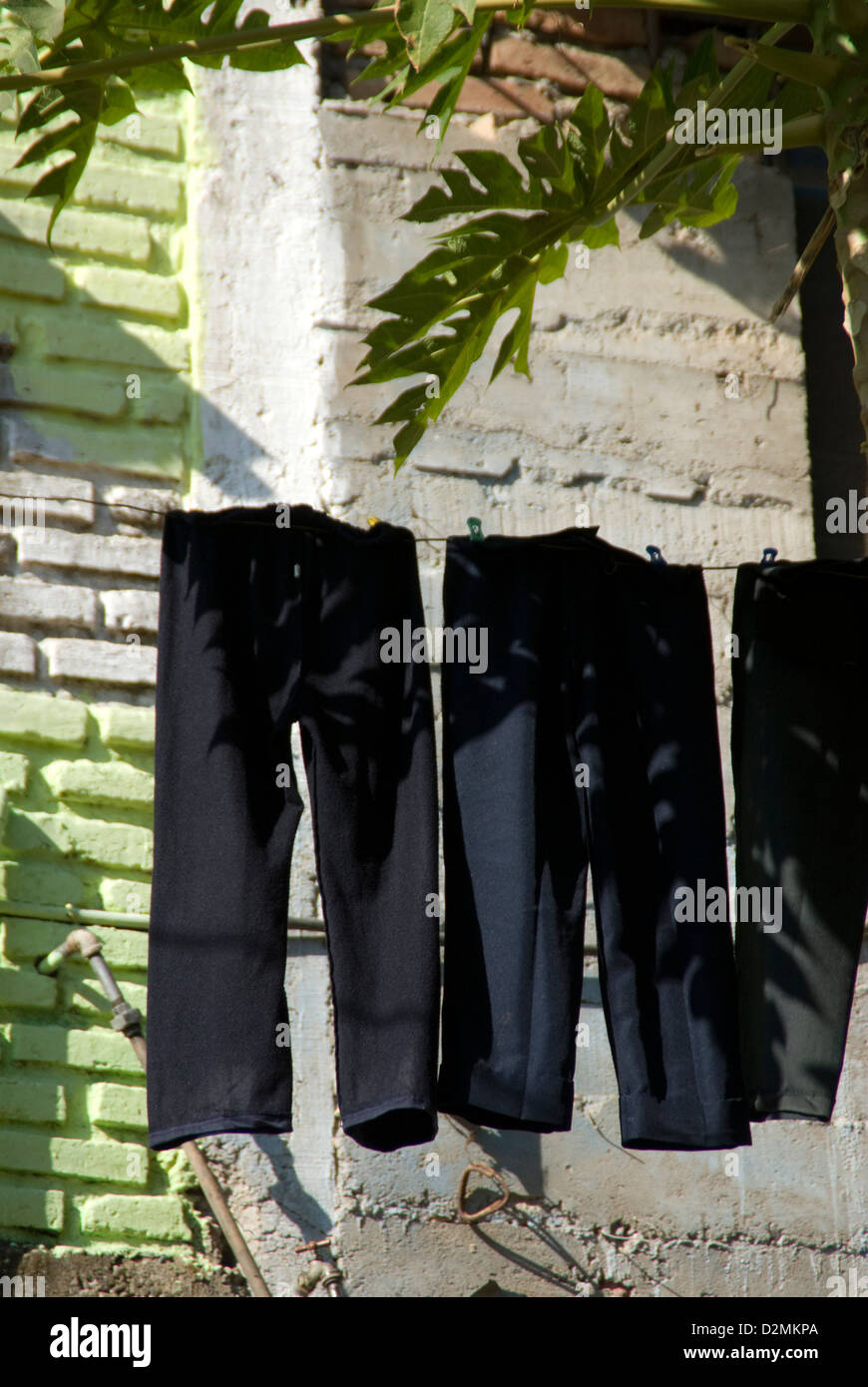 Black pants on a clothesline in a small village near Mazatlan,Mexico - Stock Image