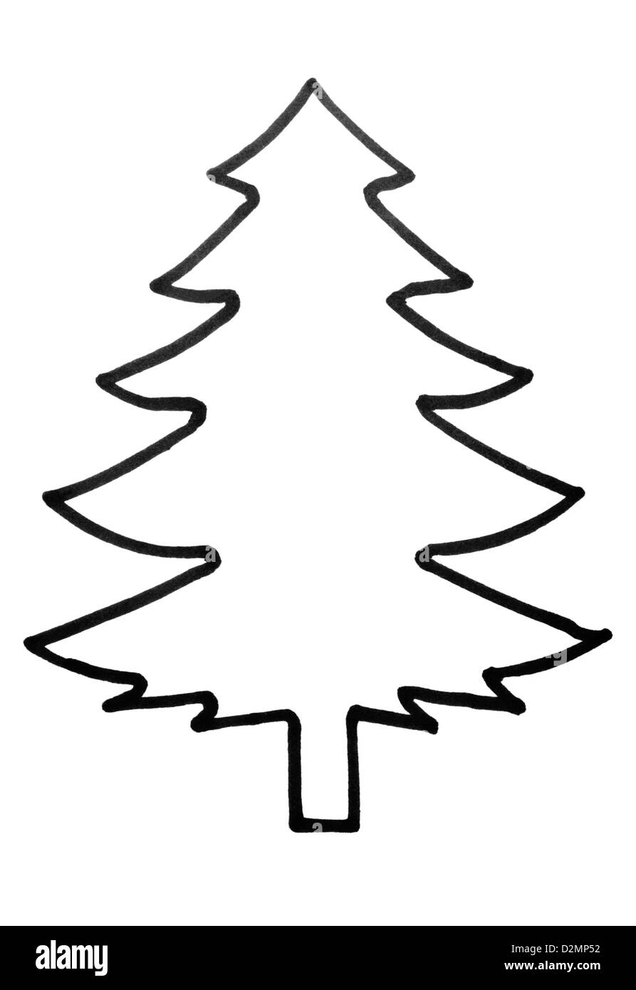 Outline Of A Christmas Tree Stock Photo 53316846 Alamy
