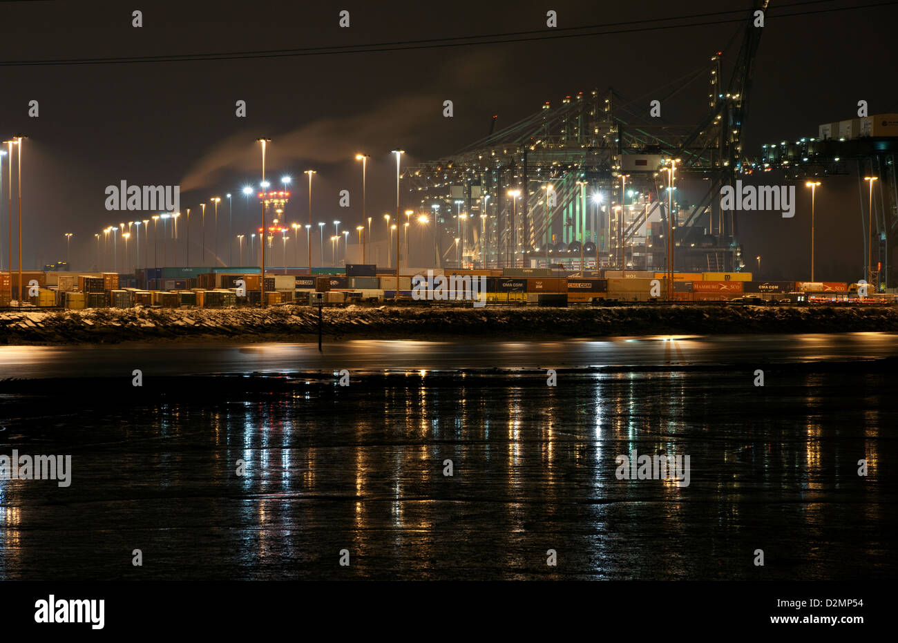 Night photograph of the Southampton Container Port, Southampton Water, Southampton, Hampshire, England, UK. Stock Photo