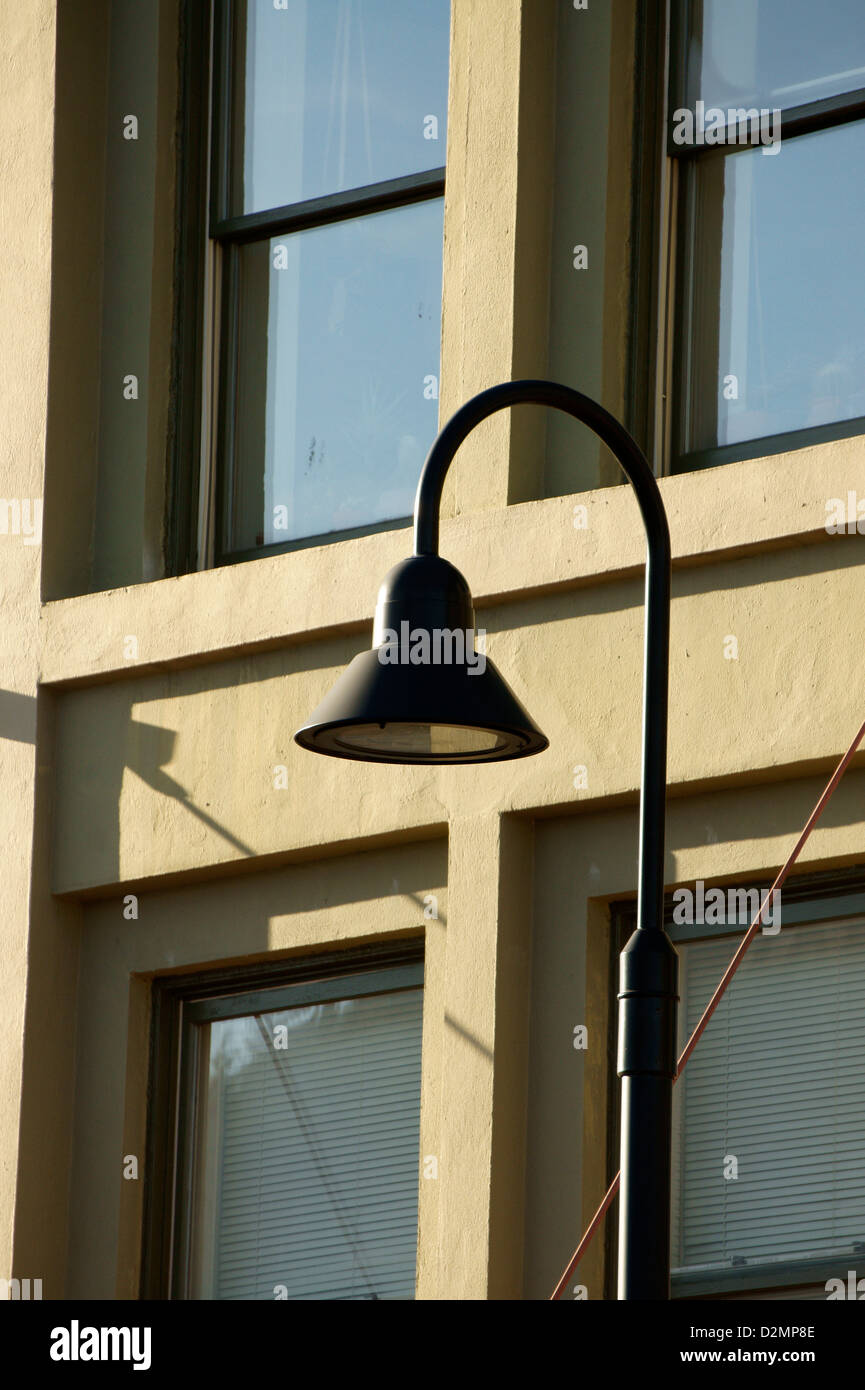 Curved metal lighting fixture on the exterior of a building in bellingham washington state