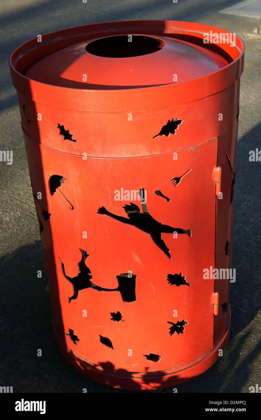 Whimsical red garbage or trash can, Bellingham, Washington State, USA - Stock Image