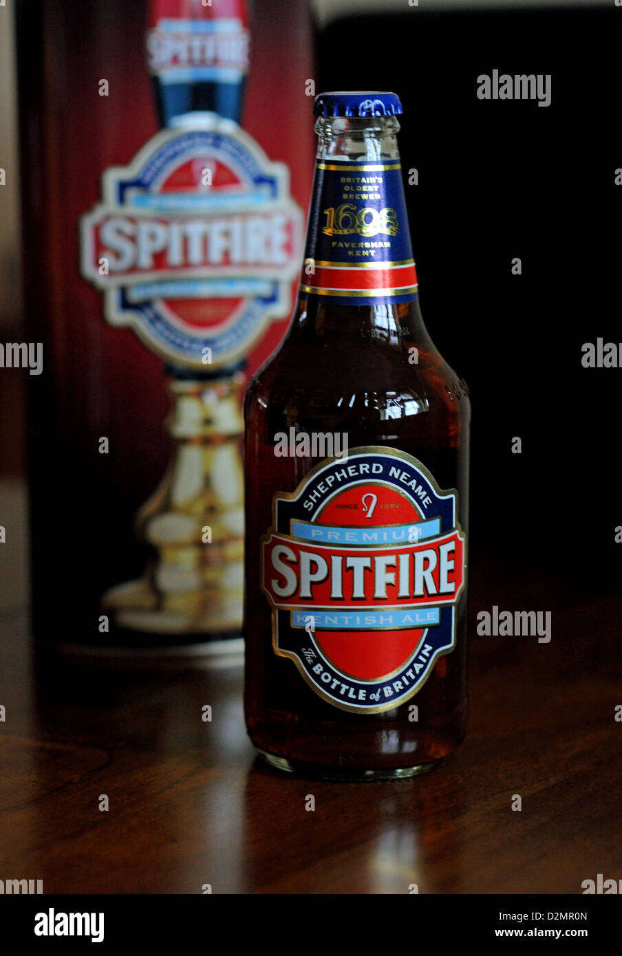 Bottle of Spitfire real ale brewed by Shepherd Neame from Kent UK - Stock Image