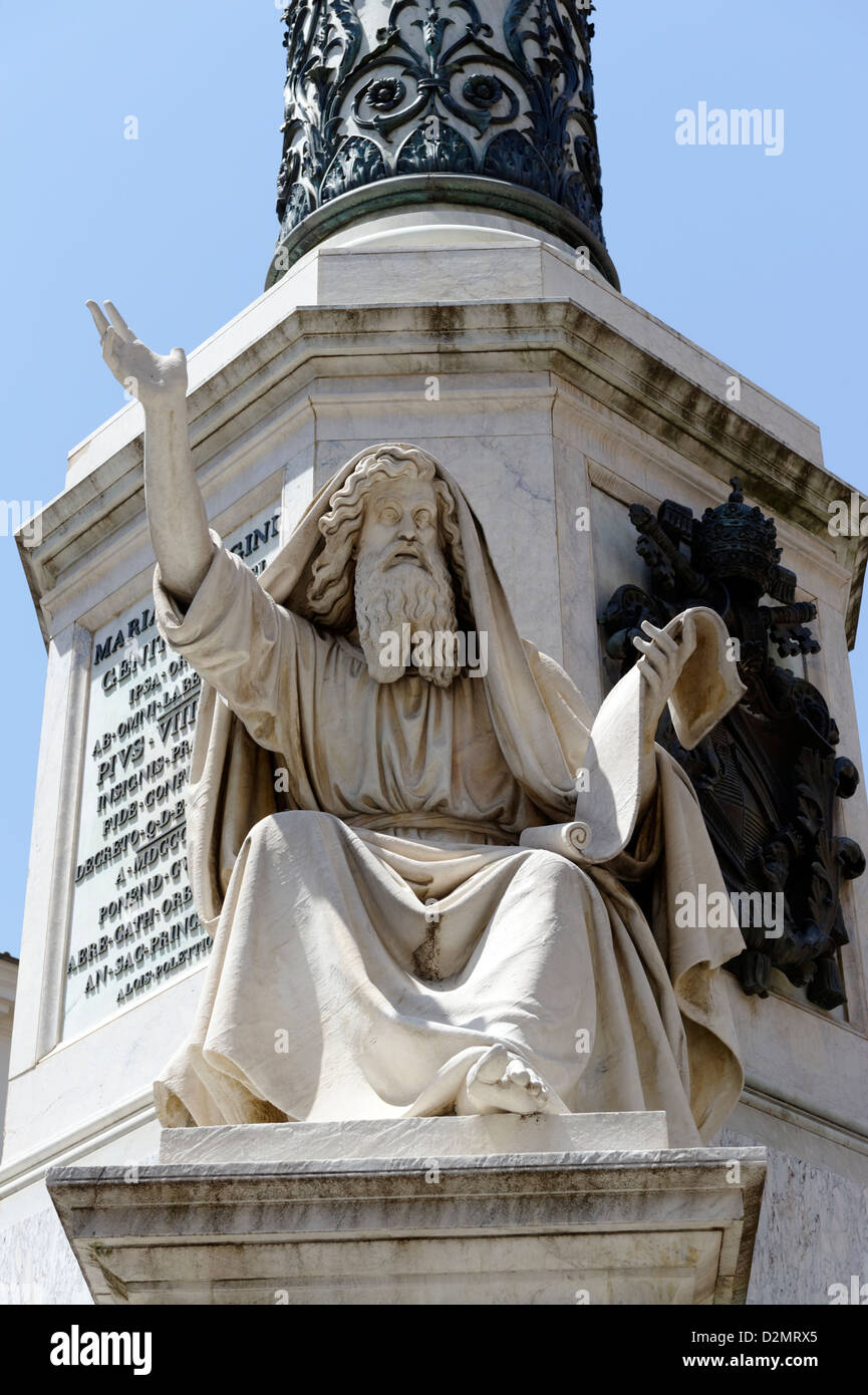 Rome. Lazio. Italy. View of the sculpture of Hebrew prophet Ezechiel or Ezekiel on the base of the Colonna dell'Immacolata. - Stock Image