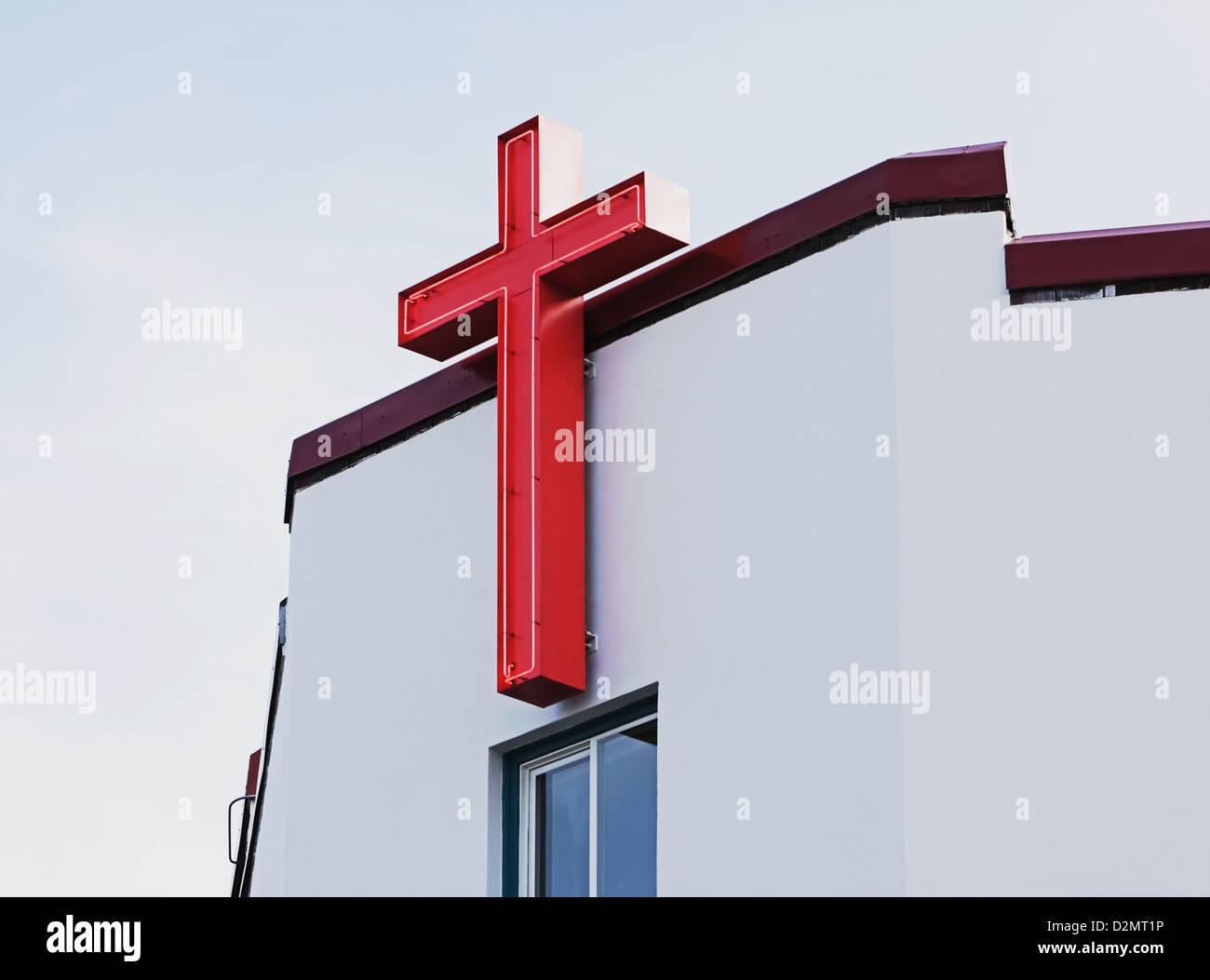 Neon Cross on Church Stock Photo