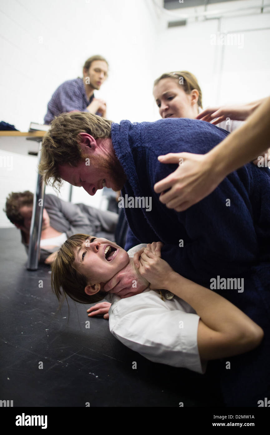 Students acting in an amateur student production of One Flew Over the Cuckoos Nest, Aberystwyth University, UK - Stock Image