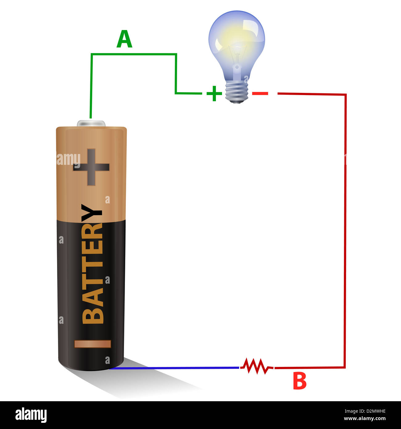 battery connected to a light bulb - stock image