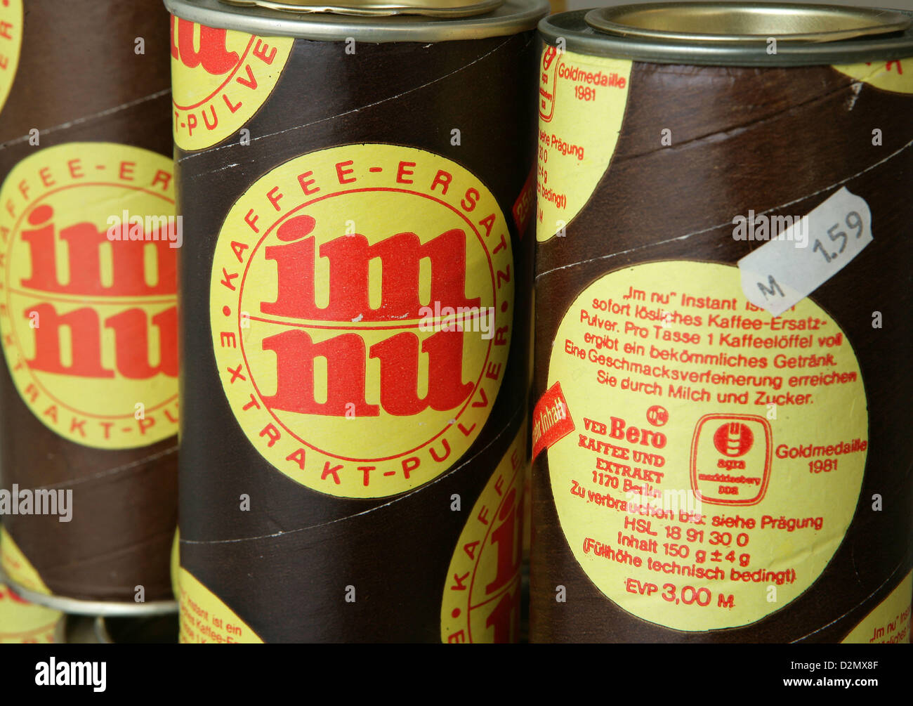 Boxes with the coffee substitute 'im nu' (in an instant) produced in the GDR are pictured at Dokumentationszentrum - Stock Image
