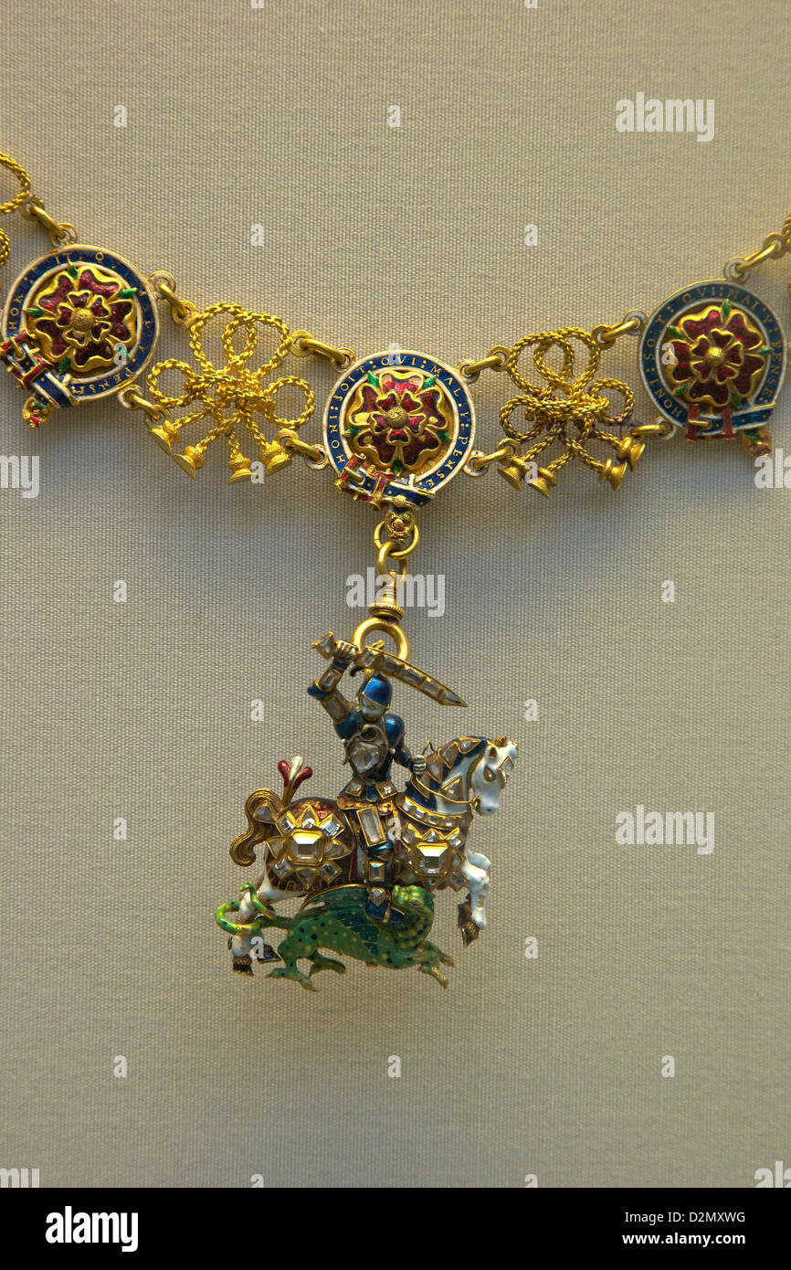 Order of the Garter, Great George, enamelled gold St George and Dragon set with Diamonds, British Museum, London, - Stock Image