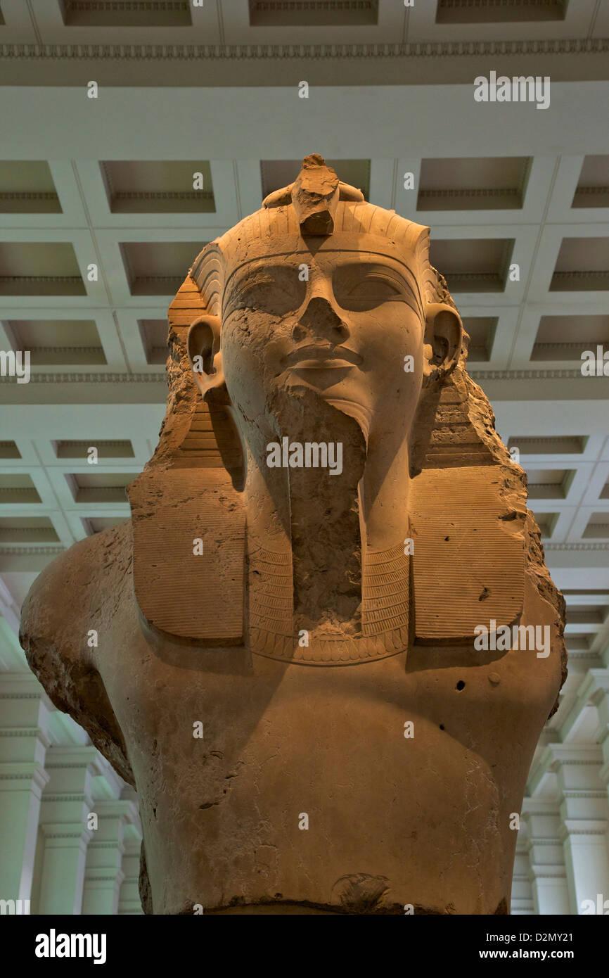 Colossal Statue of Amenhotep III, 1370 BC, Thebes, Egypt, British Museum, London, England, UK, GB, British Isles - Stock Image