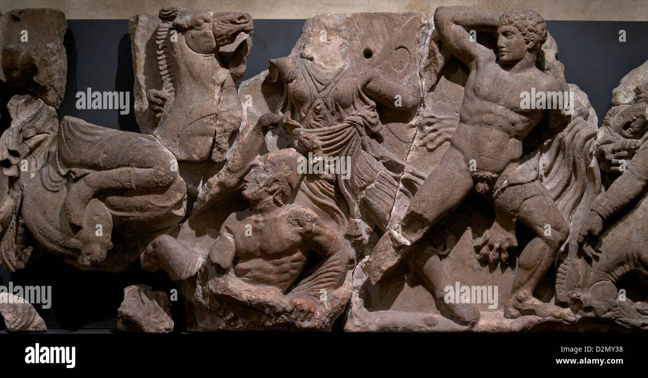 Greeks fight Amazons, Frieze from Temple of Apollo, Bassai, Greece,  400-429 BC, British Museum, London, England, - Stock Image