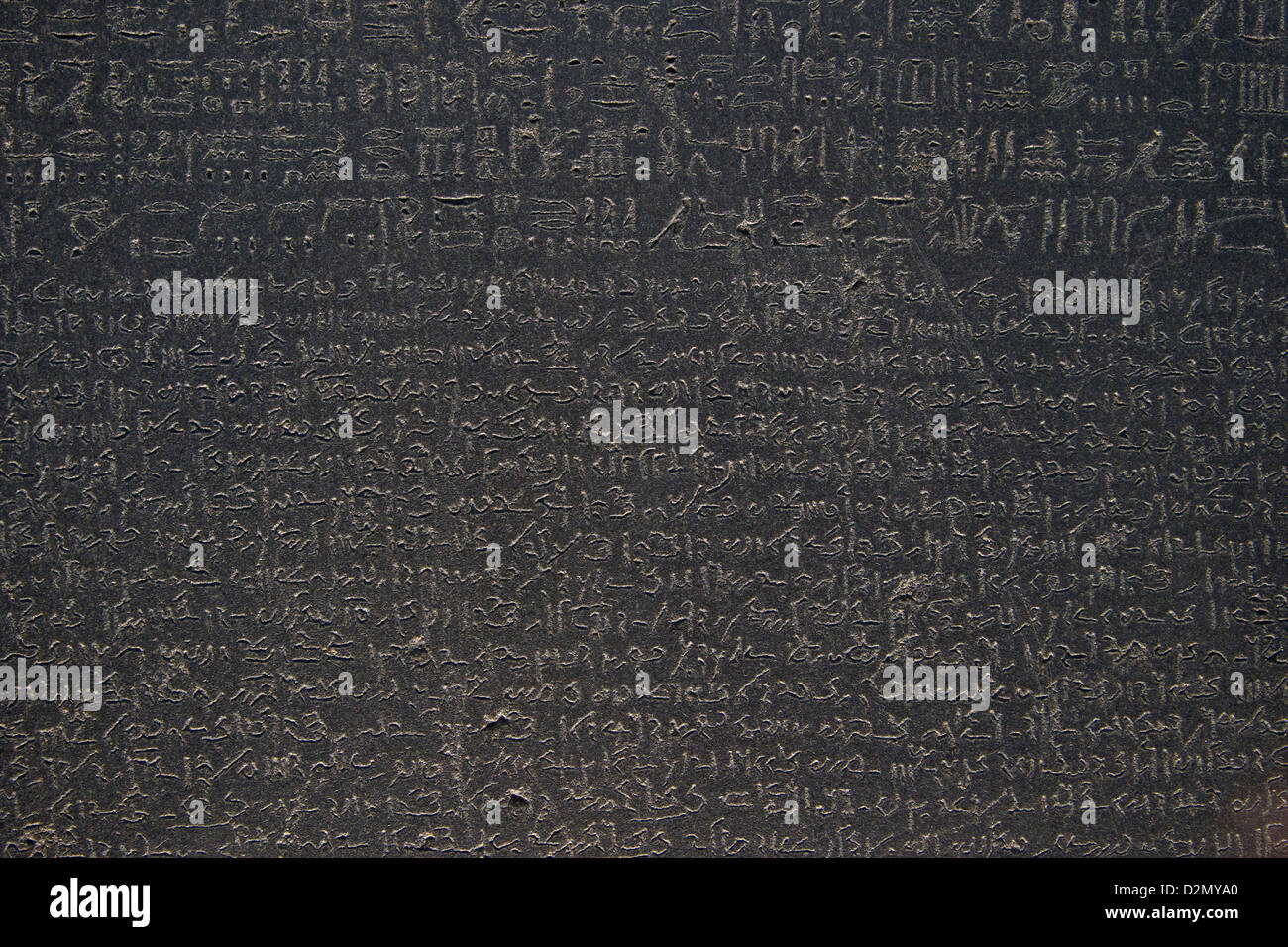 Egyptian hieroglyphs and demotic script, Rosetta Stone, 196 BC, British Museum, London, England, UK, GB, British - Stock Image