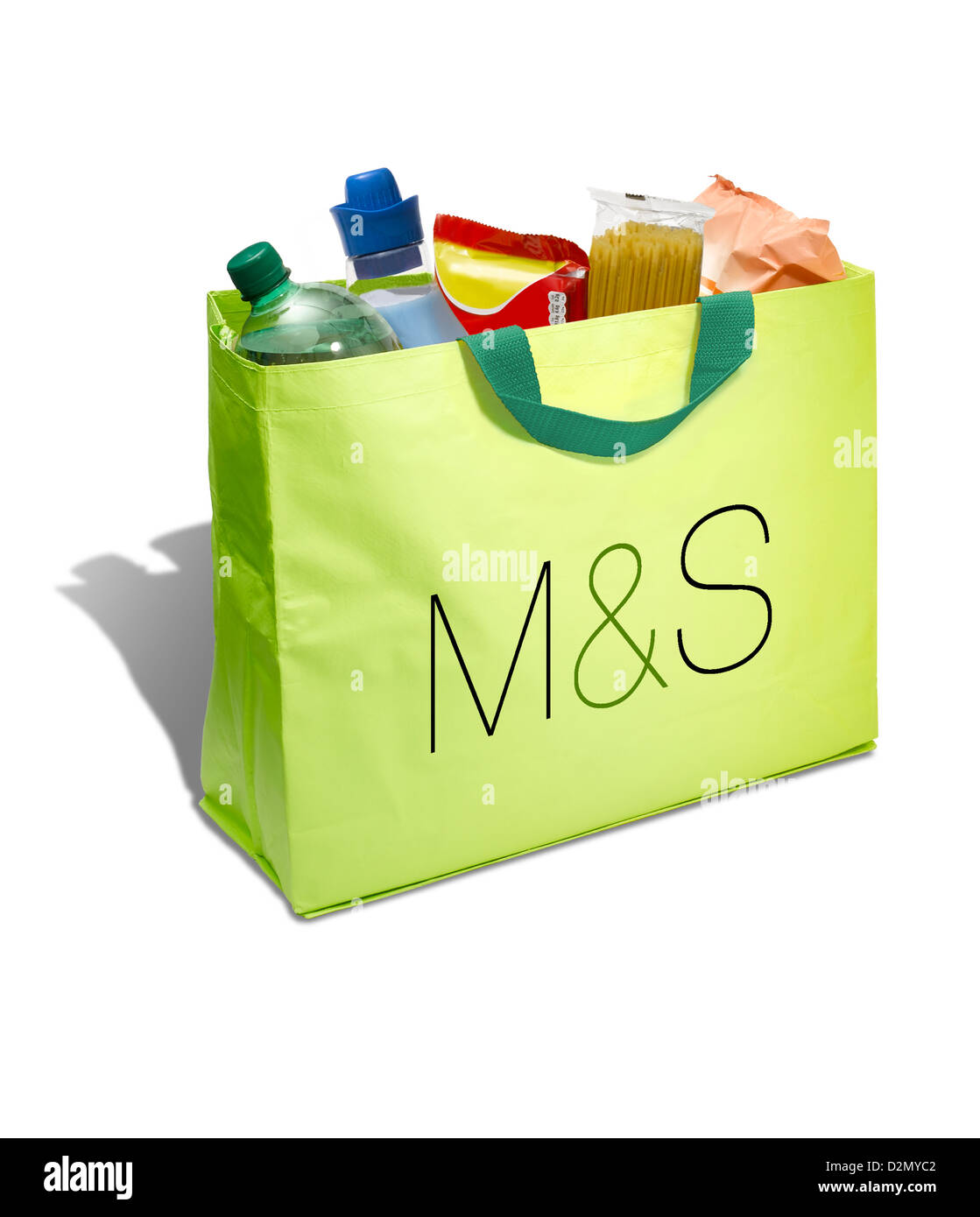 A lime green Marks and Spencer shopping bag on a white background - Stock Image