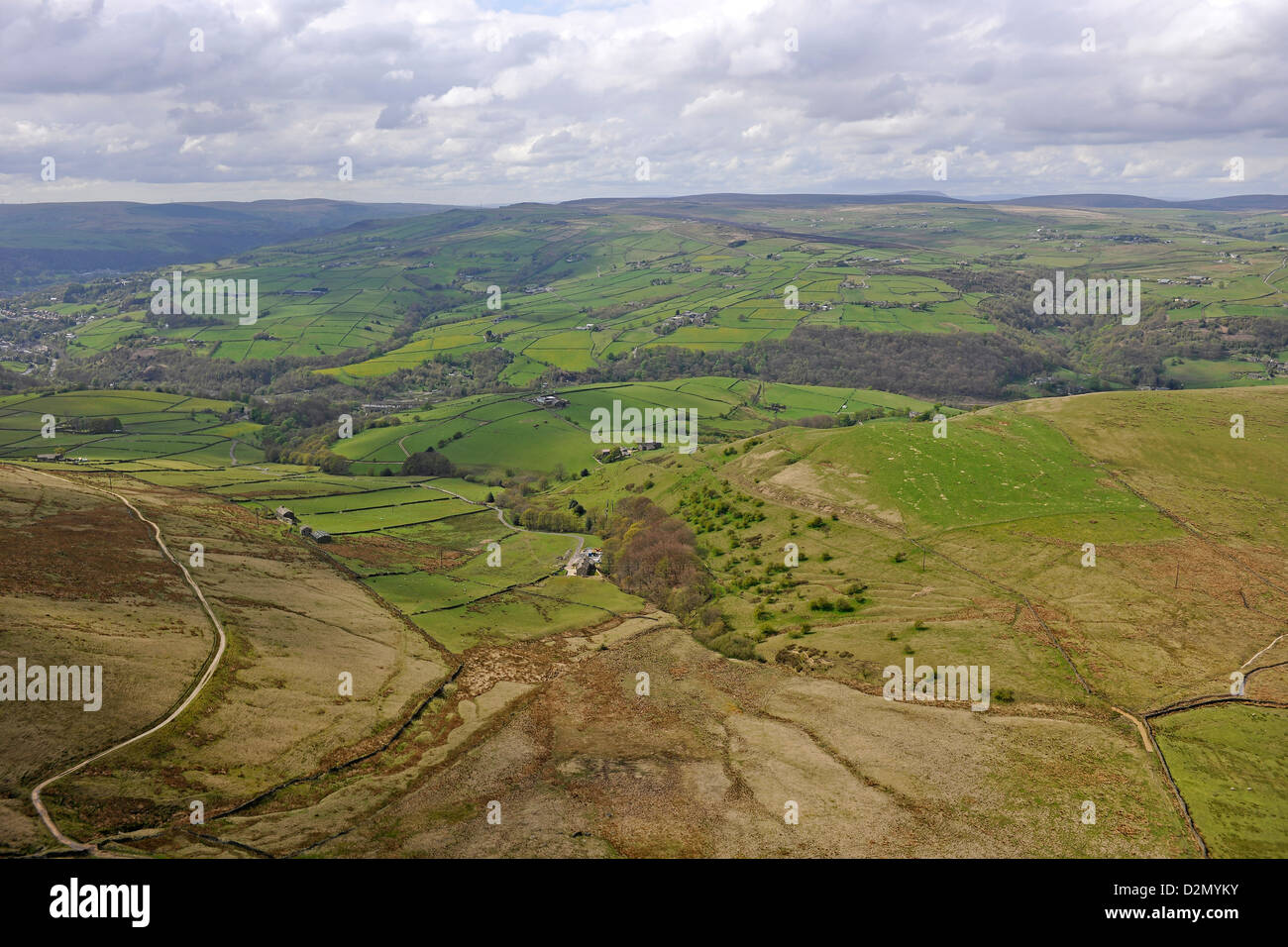Aerial photograph of hills and countryside near Todmorden West Yorkshire - Stock Image