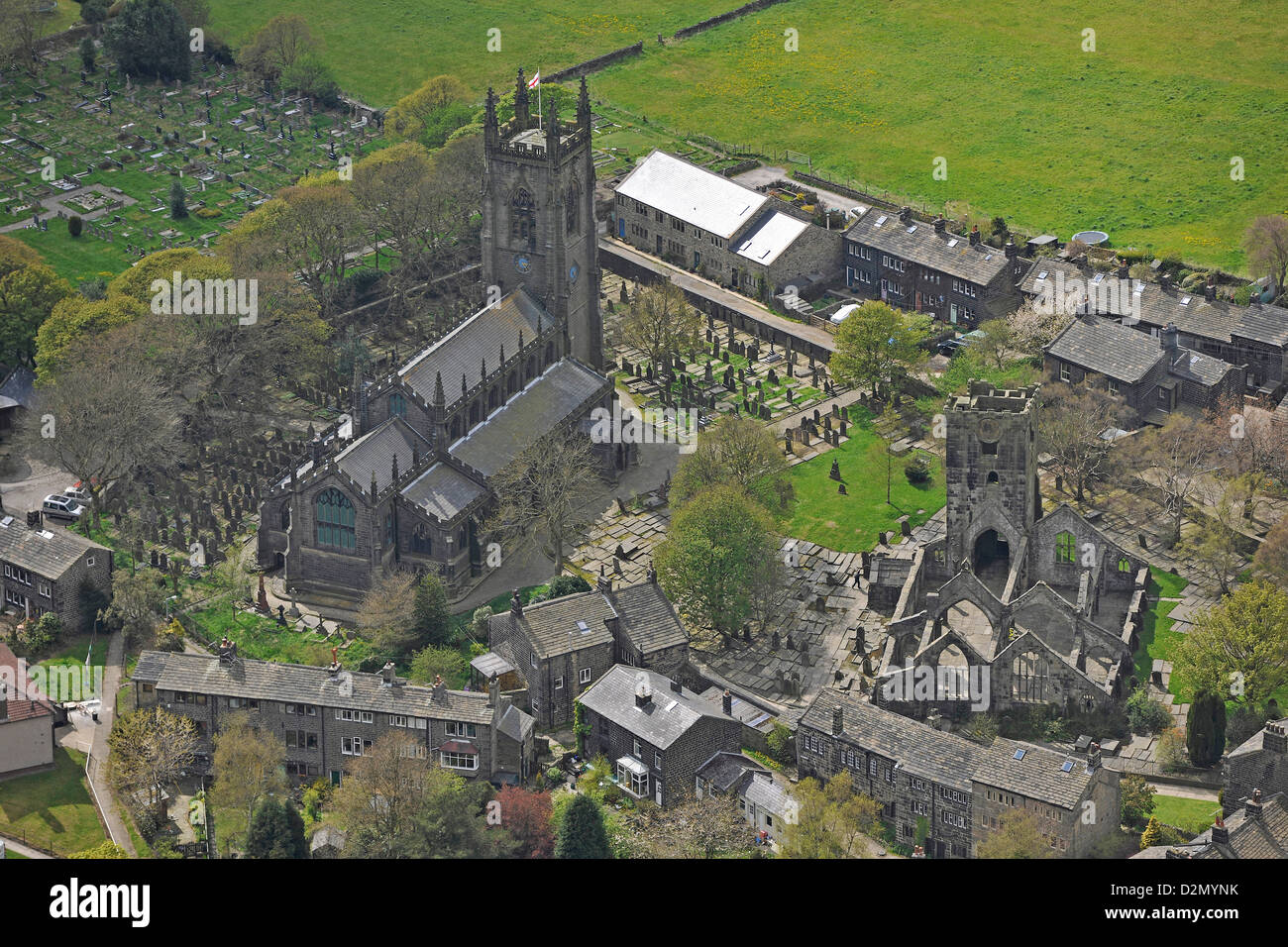 Aerial photograph of Hebden Bridge West Yorkshire - Stock Image