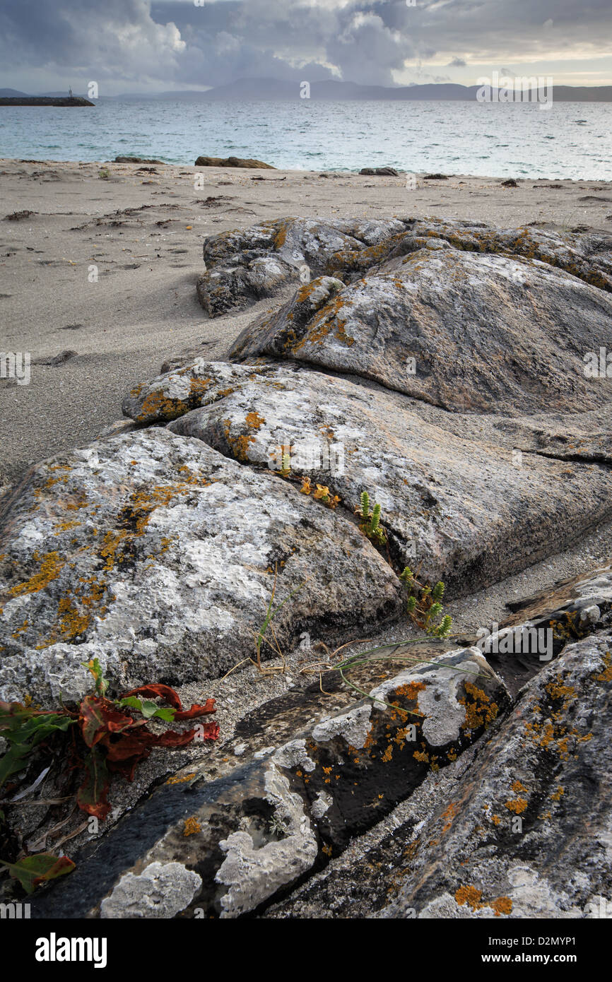 Eriskay beach and rocks in the Outer Hebrides - Stock Image
