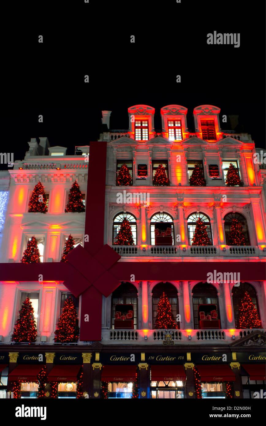 Christmas decorations on the Cartier building on Bond Street, London, England, United Kingdom, Europe - Stock Image