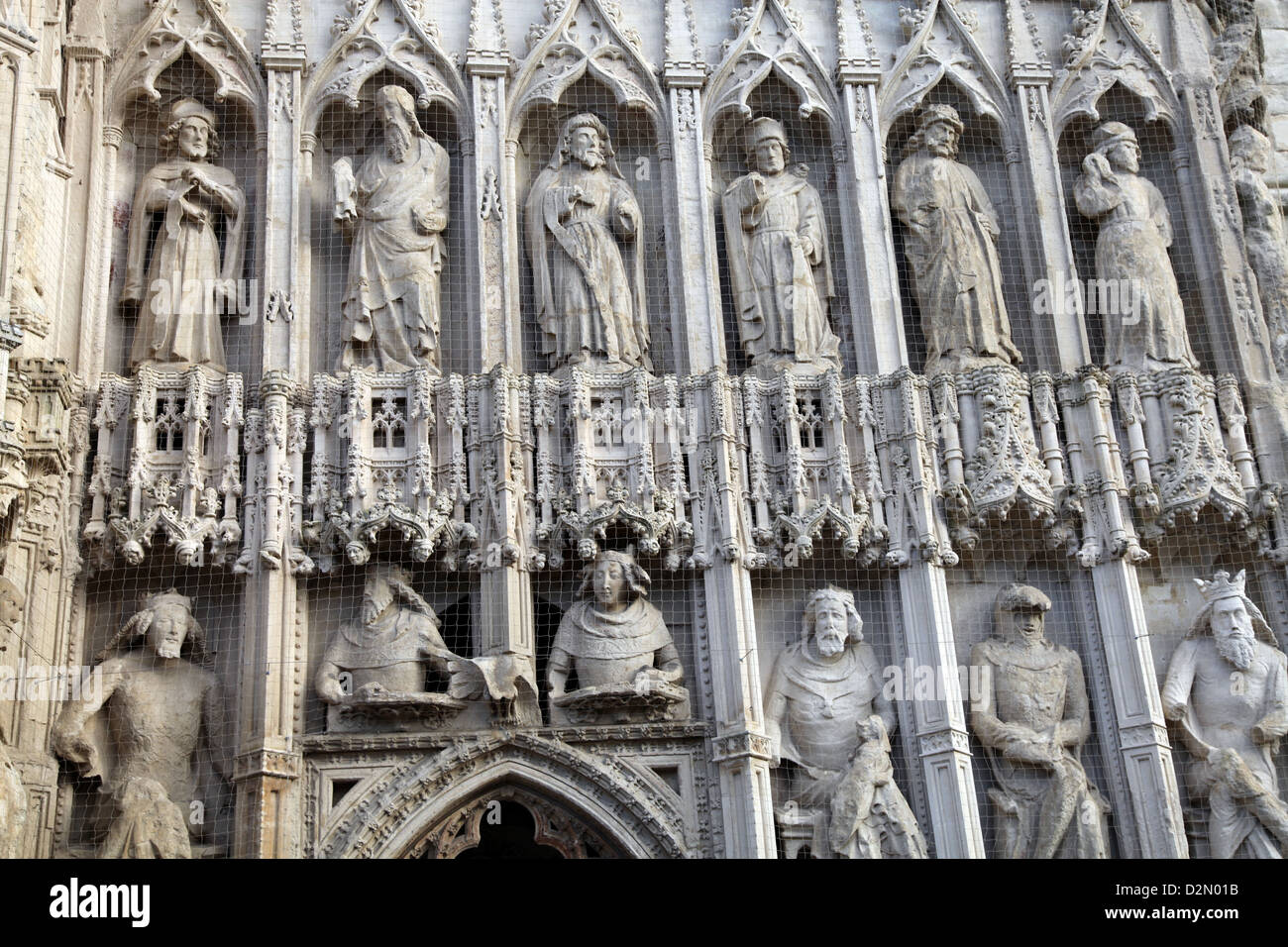 Figures over the west door of Exeter Cathedral, Exeter, Devon, England, United Kingdom, Europe - Stock Image