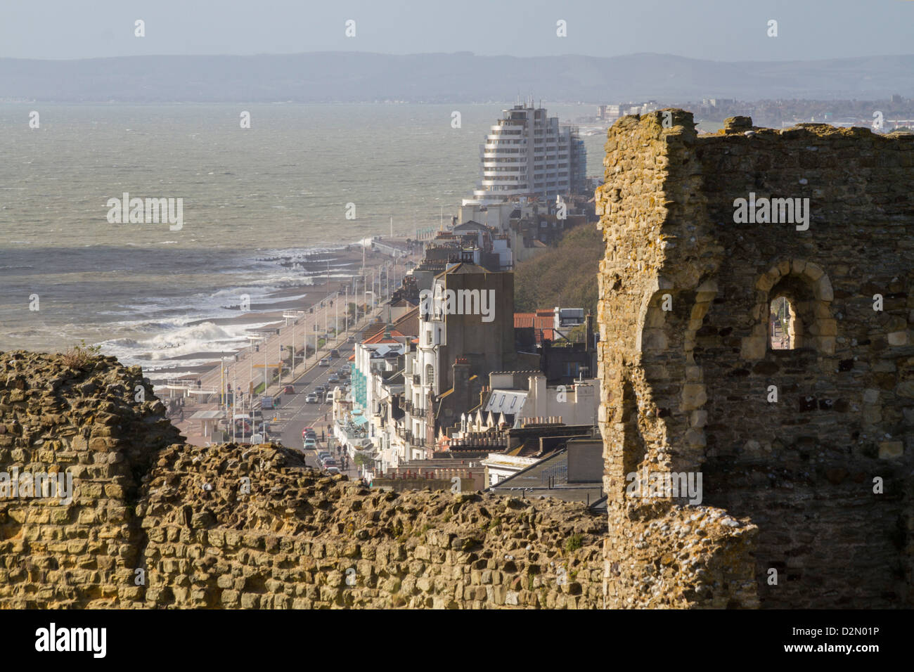 View from castle, Hastings, Sussex, England, United Kingdom, Europe - Stock Image