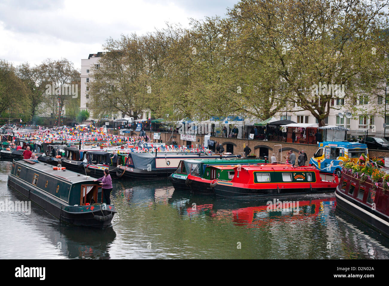 Houseboats on the Grand Union Canal, Little Venice, Maida Vale, London, England, United Kingdom, Europe - Stock Image