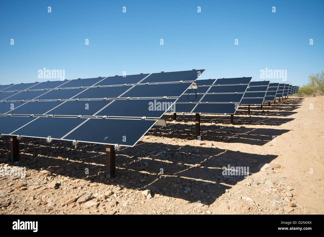 Solar panels, near Phoenix, Arizona, United States of America, North America - Stock Image