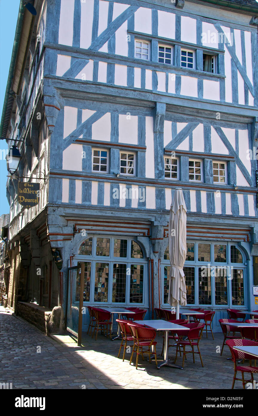 Medieval half timbered house, Dinan, Brittany, France, Europe - Stock Image