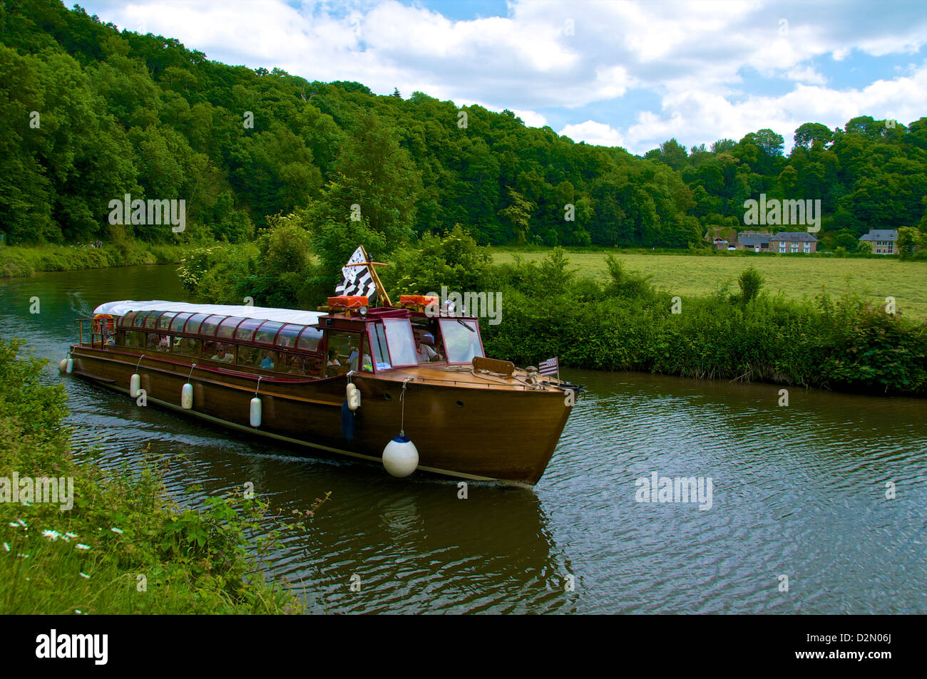 Tourist boat on River Rance, Dinan, Brittany, France, Europe - Stock Image