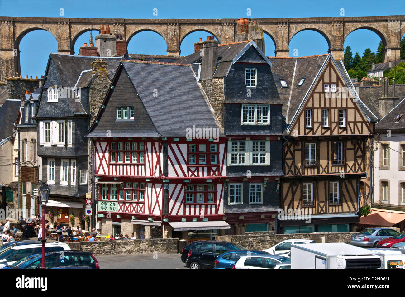 Medieval half timbered houses, with viaduct in the background, old town, Morlaix, Finistere, Brittany, France, Europe - Stock Image