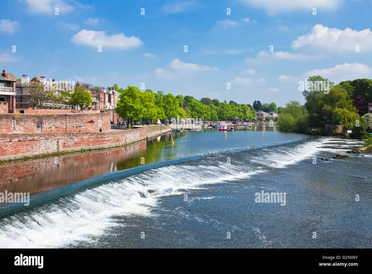 Chester Weir crossing the River Dee at Chester, Cheshire, England, United Kingdom, Europe Stock Photo